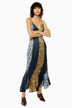 Topshop Womens Idol Mixed Print Godet Midi Slip Dress - Multi