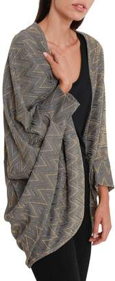 M Missoni Silver Shawl With Gold Pattern