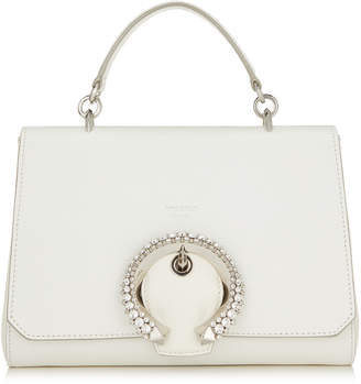 Jimmy Choo MADELINE TOP HANDLE Latte Goat Calf Leather Top Handle Bag with Crystal Buckle