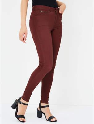 George Burgundy Zip Detail Trousers