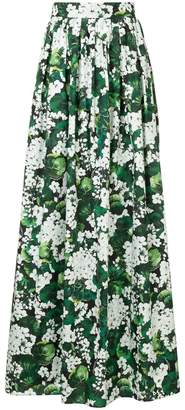 Dolce & Gabbana white geranium printed maxi skirt
