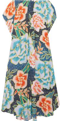 Mara Hoffman - Arcadia Off-the-shoulder Printed Plissé-crepe Maxi Dress - Azure $310 thestylecure.com