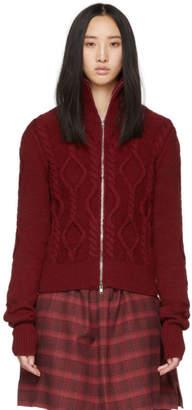 Isabel Marant Red Irish Knit Betsy Zip Sweater