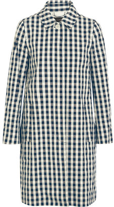 J.Crew - Gingham Cotton Trench Coat - Navy $200 thestylecure.com