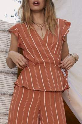 Sage The Label Striped Tie Top