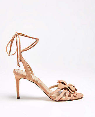 156363da863 Ann Taylor Lillie Flower Suede Heeled Sandals