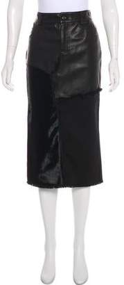 Tom Ford Leather-Paneled Midi Skirt