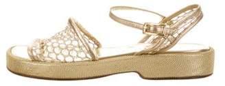 Chanel Metallic Ankle Strap Sandals