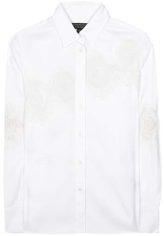 Burberry Lace-panelled herringbone shirt