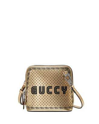Gucci Guccy Script Dome Metallic Leather Crossbody Bag