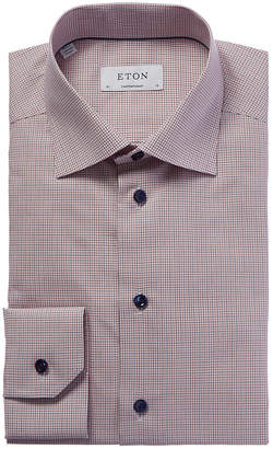 Eton Contemporary Fit Grid Check Dress Shirt