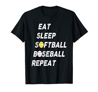 Softball Baseball Repeat Shirt Cool Cute Gift Ball Mom Dad