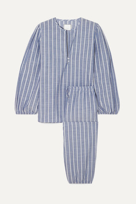 Three J NYC Striped Cotton Pajama Set - Light blue
