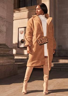 Missy Empire Missyempire Han Camel Teddy Borg Longline Coat