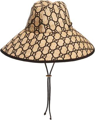 Gucci Iris GG Embroidered Woven Raffia Hat