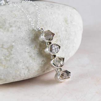 Embers Gemstone Jewellery Herkimer Diamond Silver Drop Pendant Necklace