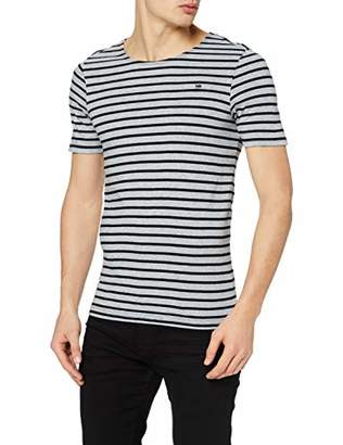 G Star Men's Xartto T-Shirt Grey HTR/dk Black Stripe A514, Large