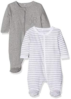 Name It Baby Nbnnightsuit 2P Zip W/F Grey Mel Noos Sleepsuit,Pack of 2