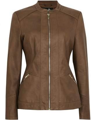Next Womens Wallis Tan Stitch Detail Biker Jacket