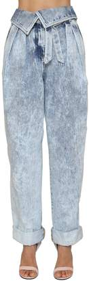 Balmain High Waist Tapered Cotton Denim Jeans