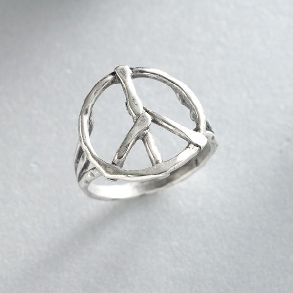 Axcess silver-tone peace ring