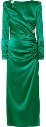 Alessandra Rich - Ruched Crystal-embellished Silk-satin Midi Dress - Emerald