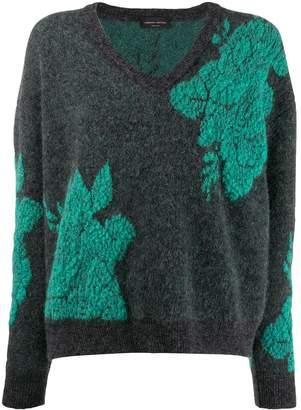 Roberto Collina v-neck floral knit sweater
