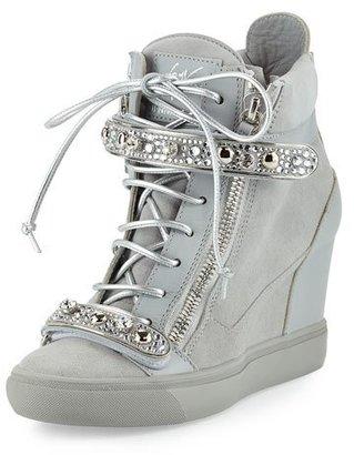 Giuseppe Zanotti for Jennifer Lopez Tiana Crystal High-Top Wedge Sneaker, Gray $1,395 thestylecure.com