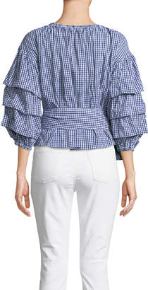 Marled By Reunited Balloon-Sleeve Gingham Wrap-Blouse