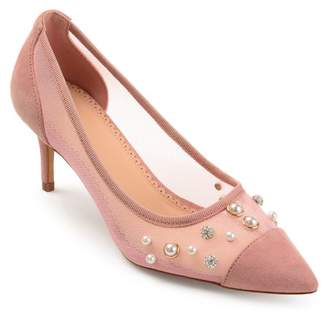 Brinley Co. Womens Mesh Faux Pearl Embellished Pumps