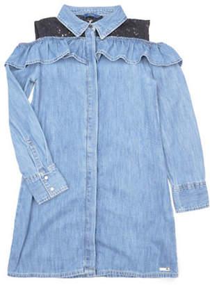 GUESS Laced Cold-Shoulder Denim Dress