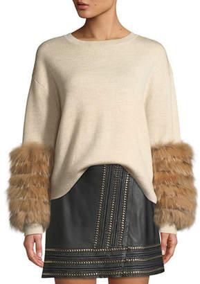 Alice + Olivia Shiela Pullover with Fur Cuffs