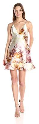 ABS by Allen Schwartz Women's Cocktail Dress in Digital Print Tafetta with Ruffled Hem