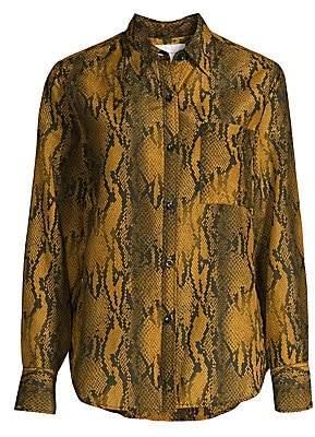 Current/Elliott Women's The Neal Python Print Silk-Blend Shirt