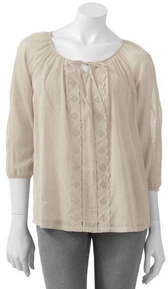 Sonoma life + style embroidered peasant top and camisole set