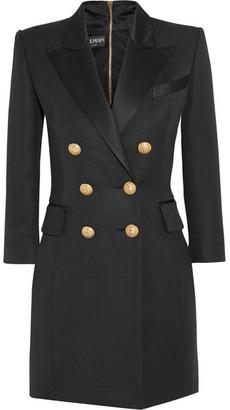 Balmain - Double-breasted Silk Satin-trimmed Basketweave Mini Dress - Black $4,790 thestylecure.com