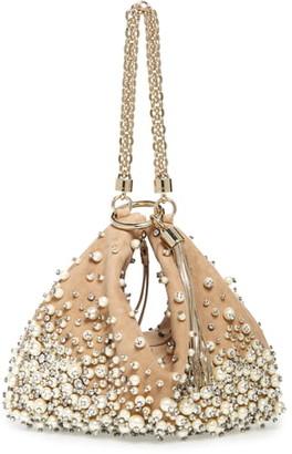 Jimmy Choo Callie Degrade Imitation Pearl Embellished Suede Clutch