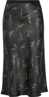 Printed Silk-satin Midi Skirt - Charcoal