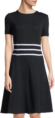 St. John Sailor-Striped Short-Sleeve Fit & Flare Dress