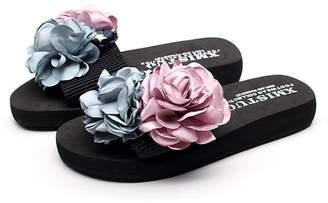 2aaa9b9b8 AVENBER Women s Strappy Flat Slide Sandal Floral Summer Anti-Slip Outdoor Summer  Beach Slippers