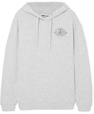 McQ Embellished Cotton-blend Terry Hooded Top - Light gray