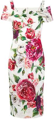 Dolce & Gabbana floral print cold shoulder dress