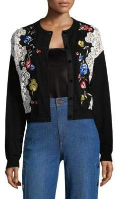 Alice + Olivia Leena Embroidered Cardigan