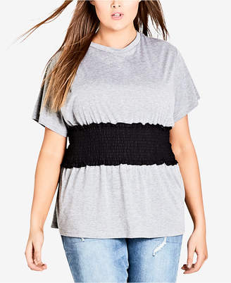City Chic Trendy Plus Size Shirred-Waist Top