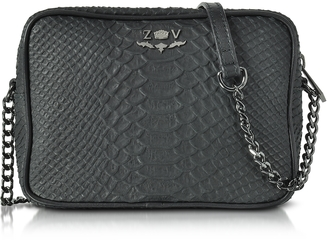 Zadig & Voltaire Black Embossed Leather Boxy Cobra Crossbody Bag $258 thestylecure.com