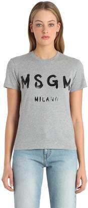 MSGM Logo Printed Cotton T-Shirt