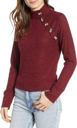 Socialite Mock Neck Button Sweater