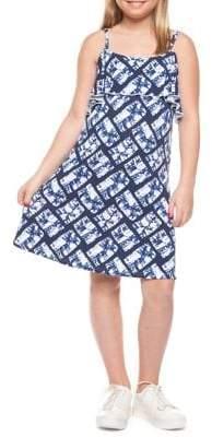 Dex Girl's Flower Foldover Ruffle Dress