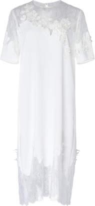 Costarellos Crepe Illusion-Neckline Midi Shift Dress With French Lace