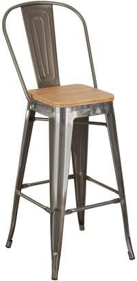 Simpel Replica Bar Stools Replica Tolix Wooden Seat Bar Chair, Gunmetal, 78cm